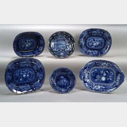 Six Blue Transfer Decorated Serving Dishes
