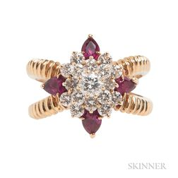 18kt Gold, Diamond, and Ruby Ring