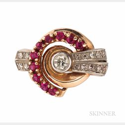 Retro 14kt Rose Gold, Platinum, Synthetic Ruby, and Diamond Ring