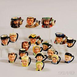 Nineteen Miniature Royal Doulton Ceramic Character Jugs