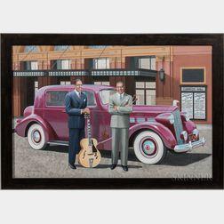 Chris Osborne (American, b. 1951)      Charlie Christian and Lionel Hampton