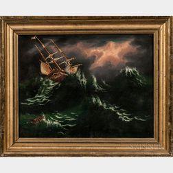 Thomas Chambers (New York/England, 1808-1869)      Ship on Stormy Seas