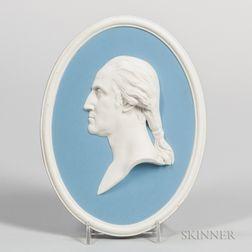 Wedgwood Solid Light Blue Jasper Portrait Plaque of Washington