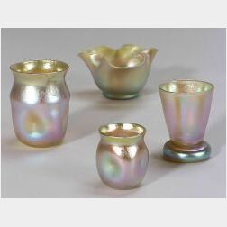 Four Small Gold Favrile and Aurene Vases