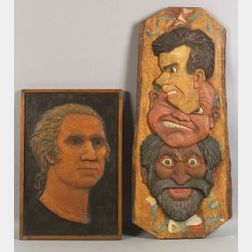 Two Painted Relief-Carved Figural Panels