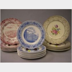 Set of Eight Wedgwood Blue and White Radcliffe College Luncheon Plates, Set of Six Wedgwood Red and White Harvard Dinner Plates, and a