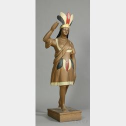 Carved and Painted Wooden Indian Maiden Tobacconist Figure