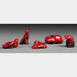 Five Royal Doulton Flambe Animals