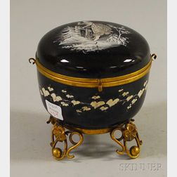Late Victorian Gilt-metal Mounted Mary Gregory-type Enamel-decorated Black Art   Glass Lidded Box