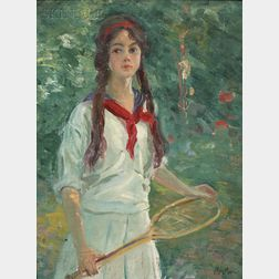 Francis Luis Mora (American, 1874-1940)      Young Girl Holding a Tennis Racquet, c. 1900-1905