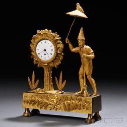 Tropical-theme Gilt-brass Desk Clock