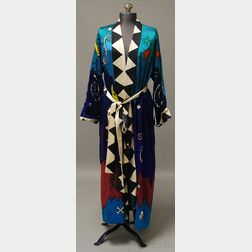 Multicolored Hand-decorated Silk Robe by Artist William Wiley