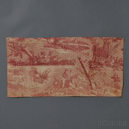 Copper-plate Printed Textile Panel with Hunting Scene