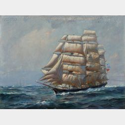 Frank Vining Smith (American, 1879-1967)      Clipper on Port Tack, Possibly the Cutty Sark