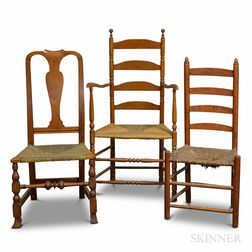 Two Maple Slat-back Chairs and a Queen Anne Maple Chair.     Estimate $150-250