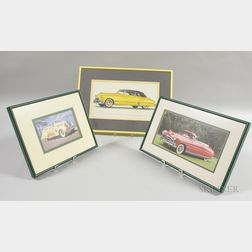 Two Framed Automobile Photographs and a Futuramic Oldsmobile Series 98 Convertible Coupe Print