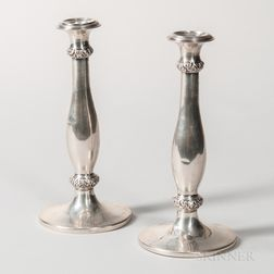 Pair of Hungarian Silver Candlesticks