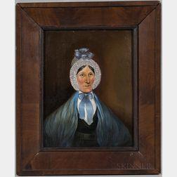 American School, Mid-19th Century      Portrait of a Woman in a Blue Shawl