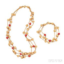 18kt Gold and Coral Necklace and Bracelet