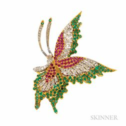 14kt Gold Gem-set Butterfly Brooch