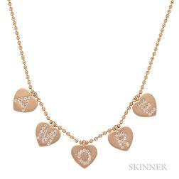 18kt Rose Gold and Diamond Heart Pendant