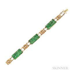 18kt Gold and Jade Bracelet, Tiffany & Co.