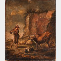 Dutch School, 17th Century      Herdsman with Livestock in a Landscape with Ruins
