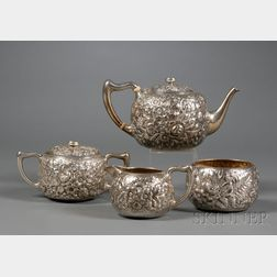 Four Piece Whiting Manufacturing Co. Sterling Repousse Tea Set