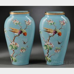 Pair of French Opaline Enamel Decorated Aesthetic Movement Mantel Vases