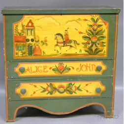 Martha and Ralph Cahoon Polychrome Paint-decorated Pine Blanket Chest over Two   Long Drawers
