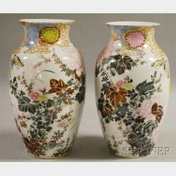 Pair of Japanese Hand-painted Porcelain Vases