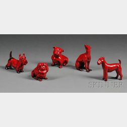 Five Royal Doulton Flambe Dogs