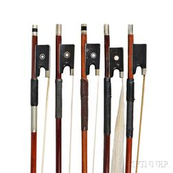 Five Assorted German and French Nickel Silver-mounted Violin Bows