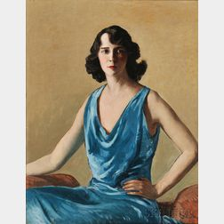 Gifford Beal (American, 1879-1956)      Portrait Study in Blue  (Esther Becker Goetz)