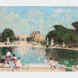 Jules René Hervé (French, 1887-1981)      Bassin Tuileries, Louvre