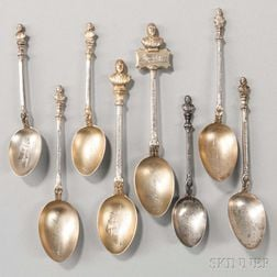 Eight English Sterling Silver Shakespeare Souvenir Spoons
