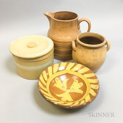 Four Yellowware and Redware Items