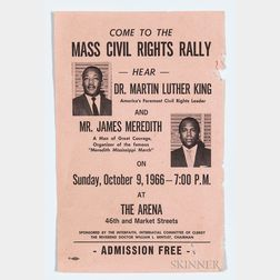 Martin Luther King, Jr., Mass Civil Rights Rally Flyer