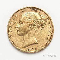 1863 British Gold Sovereign.     Estimate $300-500
