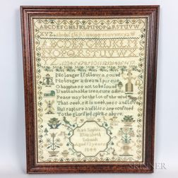 "Framed Needlework Sampler ""Ann Schmidt,"""