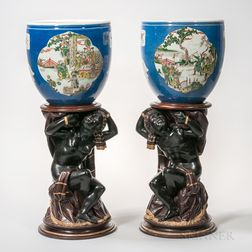 Pair of Chinese Porcelain Bowls on Blackamoor Figural Bases