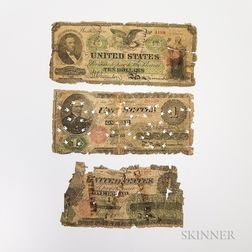 Three 1862 Legal Tender Contemporary Counterfeit Notes