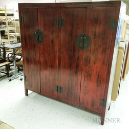 Large Modern Chinese Red-lacquered Cupboard