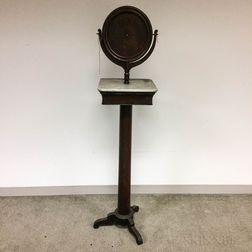 Late Classical Rosewood Veneer Marble-top Shaving Stand