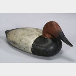 Carved and Painted Canvasback Drake Decoy