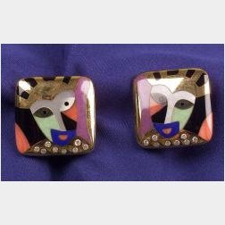 Colored Stone and Diamond Earrings