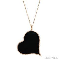18kt Rose Gold, Onyx, and Diamond Heart Pendant