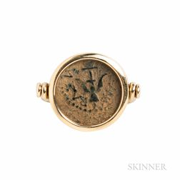 14kt Gold and Ancient Coin Swivel Ring