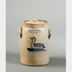 Stoneware Jar Decorated with a Cobalt Duck
