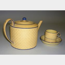 Caneware Teapot, Can, and Saucer
